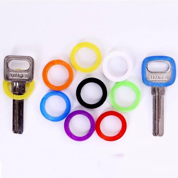 24pcs coperture chiave di gomma vuote colore misto multi colore rotondo molle in silicone chiavi serrature tappo caso portachiavi elastico topper
