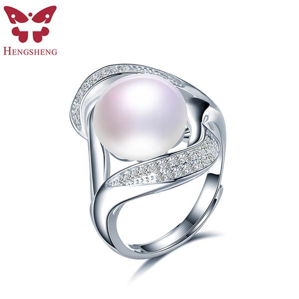 Hengsheng perles naturelles Zircon Femmes Anneaux, réel perles d'eau douce, Blanc / Black Pearl, la mode romantique 925 Bijoux en argent Bague 2019