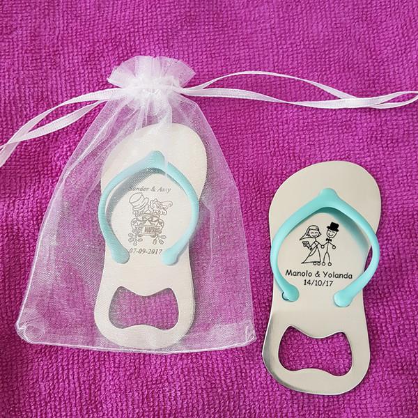 20pcs Custom Engraved Sandal Flip Flop Shaped Bottle Opener Personalized Wedding Gift Party Favor with Organza Bag, Blue / Pink