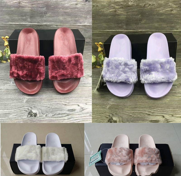 Hot Sale-Fenty Rihanna Faux Slippers Women Girls Sandals Fashion Scuffs Black Pink Red Grey Blue Slides Top Quality Men Designer Slippers
