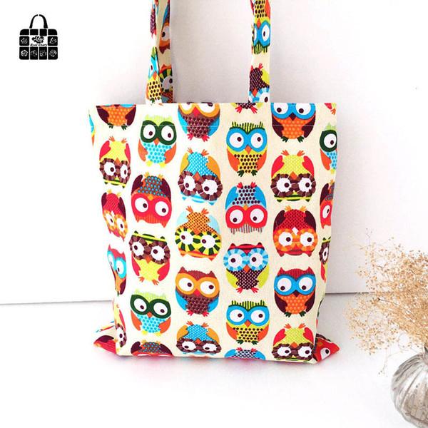 Cheap ROSEDIARY cute owl printing 100% cotton canvas Handbags large capacity Shoulder Shopping Beach Bags Women Girl Shoulder bags