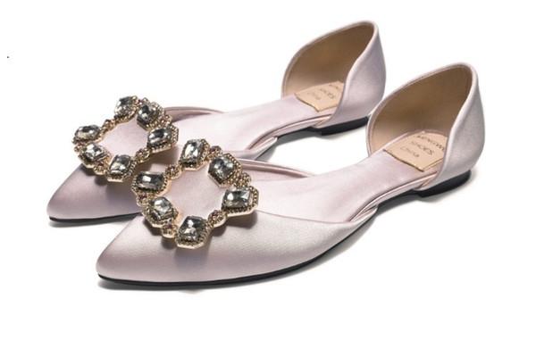 Marca Mulheres Vestido Mancha Sapato De Casamento Mocassins De Couro Mocassins Moda Apontou Toe Strass Flats Cristal Único Sapato Oxfords, 35-40