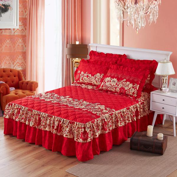 Çiçek Yatak Örtüsü Gül Monte Sac Parlak Kırmızı Pembe Yatak Etek Örtüdeki Düğün Eve Taşınma Hediye Otel Dekorasyon 4 Boyutu 4 Renk