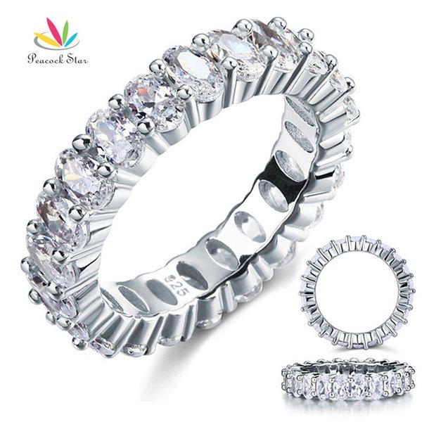 Peacock Star Oval Cut Eternity Solid Sterling 925 Silver Wedding Ring Band Jewelry Cfr8069 J190627