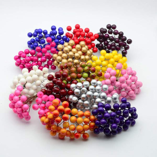 20pcs/40head MINI PE Small fruit foam pompon christmas wreath decoration for home wedding diy new year gifts artificial flowers