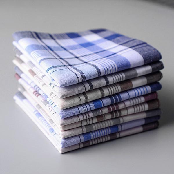 5pcs Multicolor Stripe Plaid Homens de Bolso Squares Negócios Peito toalha bolso Hanky Lenços lenços lenços 100% algodão