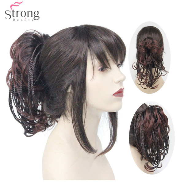Short Braids Braided Clip In Ponytail Hairpiece Hair Extensions Short Straight Claw Clip Ponytails