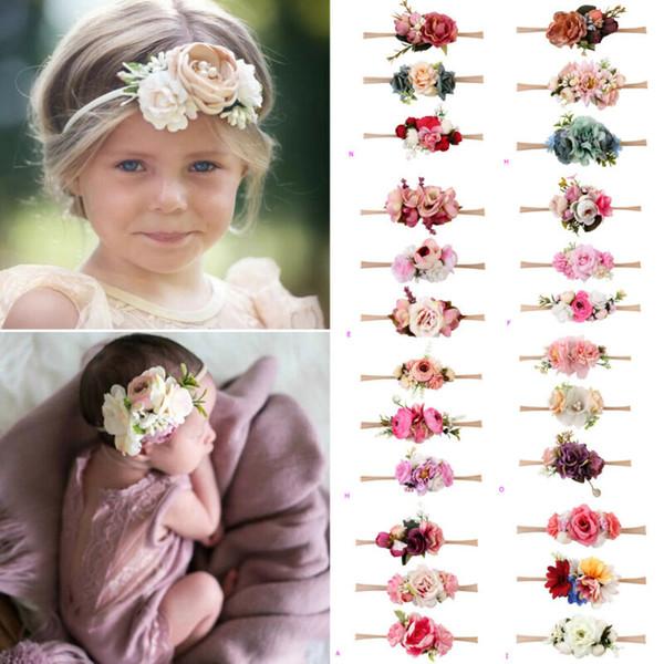 3 Unids Niños Baby Wedding Flower Hair Guirnalda Diadema Guirnalda Floral Fotografía Bautizo Festival