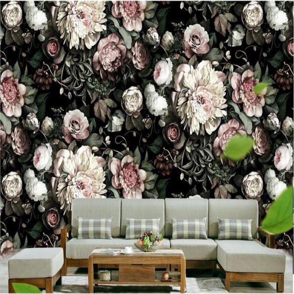 Wallpaper 3d Murals Custom Living Room Bedroom Home Decor 3d Black Flowers Wallpaper Background Wall Paper Free Download Wallpapers Free Hd Desktop