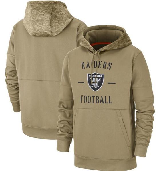 2020 Männer Frauen Jugend Oakland Hoodies Raider Sweatshirt Salute to-Service Sideline Therma Leistung Pullover HoodieTan