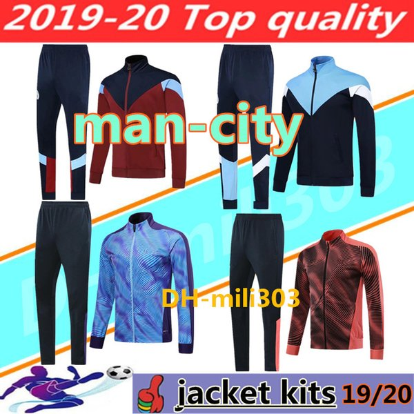 2019 2020 MAHREZ G. JESUS DE BRUYNE Conjunto de chaqueta de chándal de fútbol Manchester City 19 20 KUN AGUERO chaqueta de traje de entrenamiento de fútbol Jogging chandal futbol