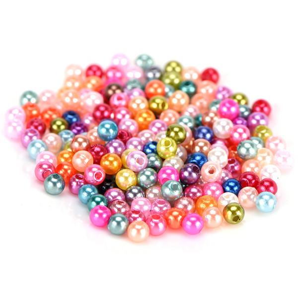 500pcs Glasperlenperlen für die Schmuckherstellung Handwerk DIY über gemischte 4mm Farben runde Form Nachahmung Großhandel