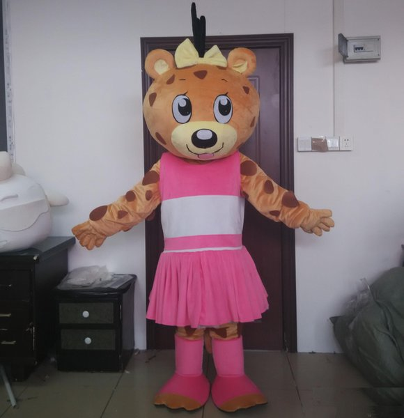 new 2019 Hot sale a girl panther mascot costume with pink dress for adult to wear