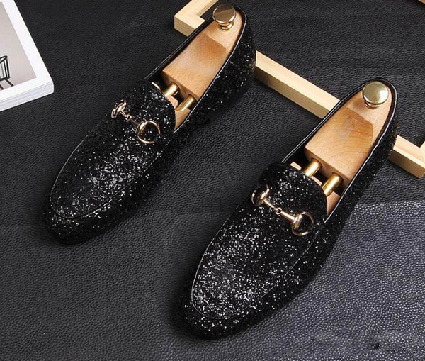 New Trendy Mens shine Sequins Shoes Flats Male formal Homecoming Dress Wedding Prom Shoes Sapato Social Masculino