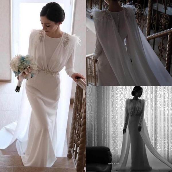 Magnifique sirène robes de mariée avec plumes Jewel cou-parole longueur Fait sur mesure mariage robe de mariée avec Wrap