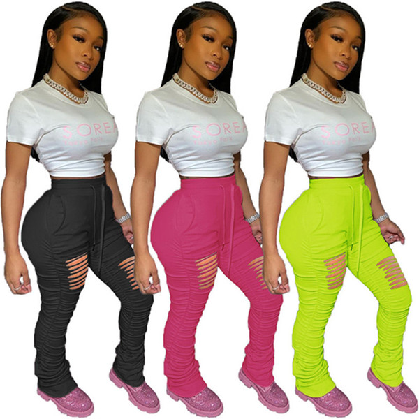 best selling Women plus size designer ripped one piece sports pants spring casual clothes fold capris split trousers solid color leggings hole DHL 2877