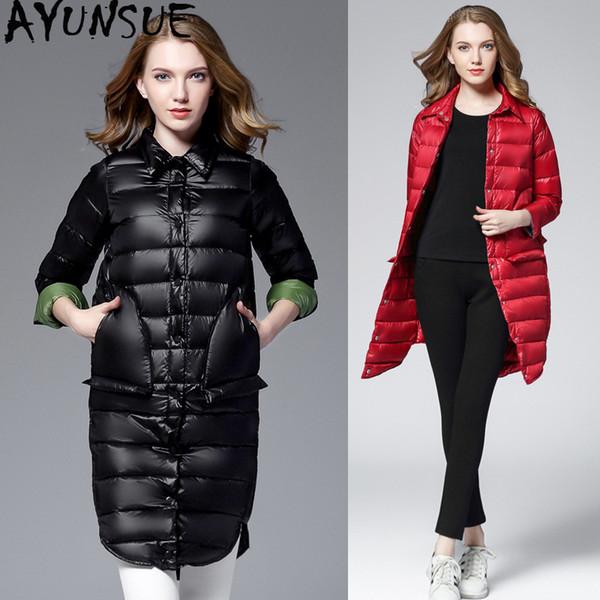 AYUSNUE 2019 Ultra Hafif Aşağı Ceket Kadın Sonbahar Kış Kaban Kadınlar Puffer Ceket Uzun Bayan Ceket Jaqueta Feminina KJ2490