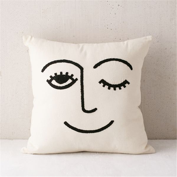 Nordic Emoji Pillow with core Embroidery of cotton Flax and linen Ethnic Literary and Artistic Sofa decorations Chair cushion