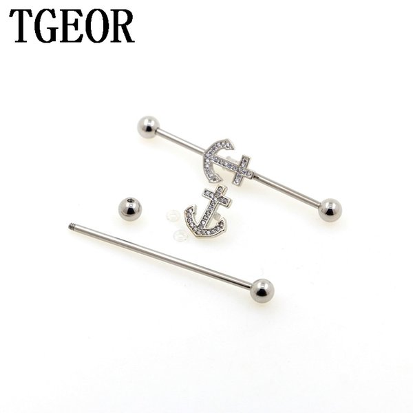 wholesale scaffold barbells 20pcs Stainless Steel 14G GEM CUBIC CZ ZIRCON industrial straight barbell piercing free shipping