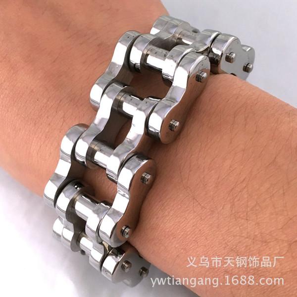 23mm Not Fades 316L Stainless Steel Silver Tone Biker Men's Bracelet Motorcycle Chain Punk Rock Roll Biker Strong Jewelry
