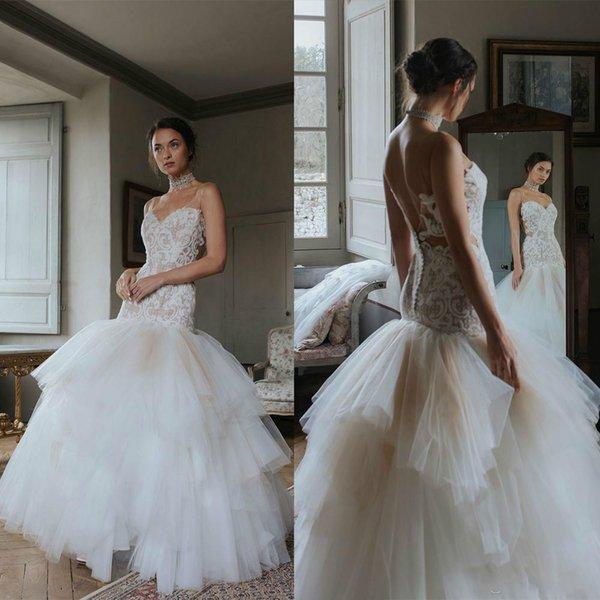 2020 Newest Cymbeline Wedding Dresses Spaghetti Sleeveless Tulle