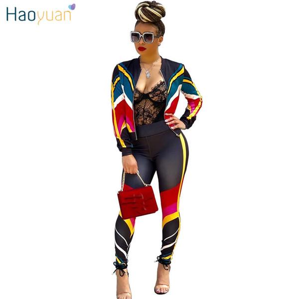 Haoyuan Плюс Размер 2 из двух частей Женская одежда в полоску на молнии + облегающие брюки Спортивный костюм Повседневные наряды Соответствующие комплекты Спортивный костюм Q190507