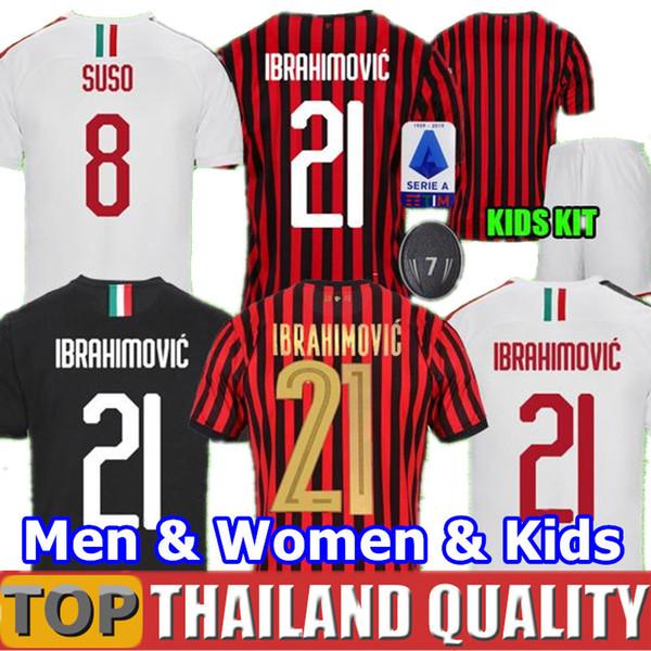 19 20 IBRAHIMOVIC A.C. Milan camisetas de fútbol AC 120 años PIATEK SUSO 2020 conjunto de camiseta de fútbol PAQUETA hombres kit para niños uniformes
