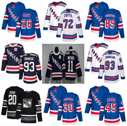 2019 New York Rangers Jersey Hockey Kaapo Kakko Artemi Panarin Mika Zibanejad Chris Kreider Jimmy Vesey Henrik Lundqvist Buchnevich Strome