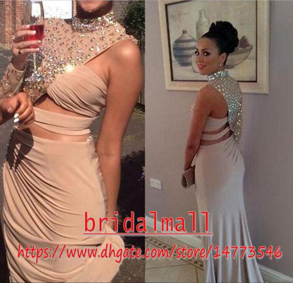 5788bbabb9f9 Beaded Crystal Chiffon Mermaid Evening Dresses 2019 Asymmetrical Neck  Keyhole Formal Prom Dress Side Split Celebrity