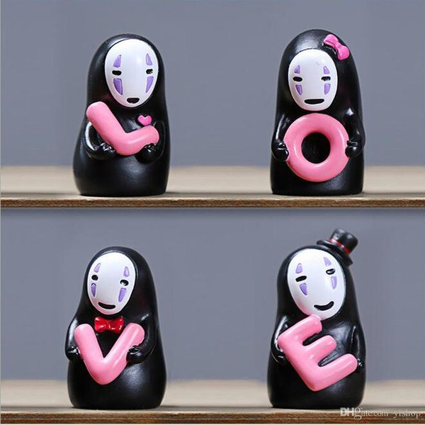 4pcs/Set No Face Man With LOVE Creative Miyazaki Spirited Away Doll Fidget Toys Car Lovers' Ornament Home Party Decoration Toys Gift