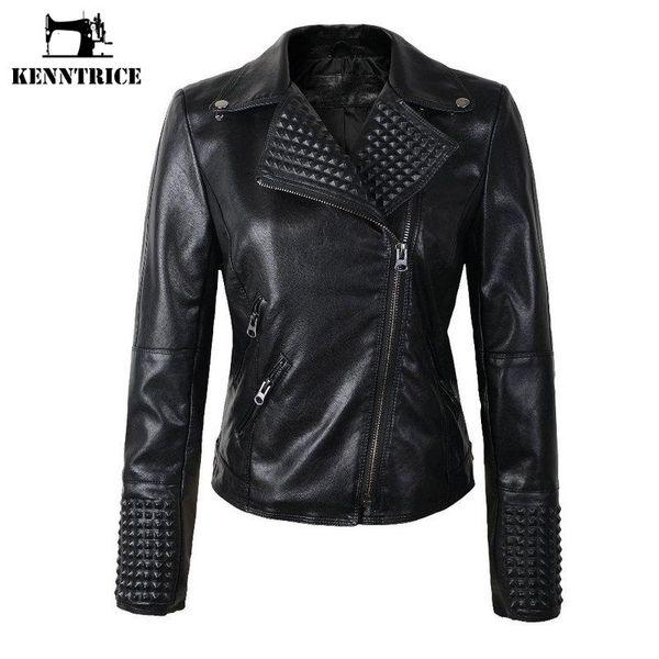 KENNTRICE Leather Jacket Women PU Leather Jackets Female Winter Motorcycle Coat Outwear Biker Jackets Ladies Jacket