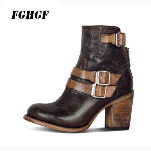 3723705bb0 Zipper especial faz estilo antigo calçados femininos moda salto grosso salto  alto fivela de cinto botas