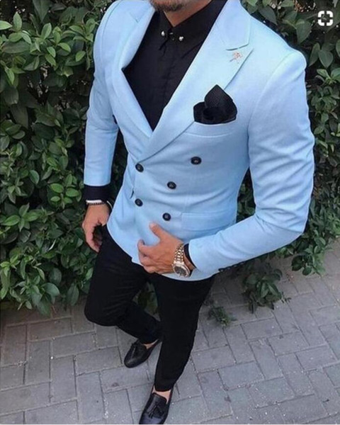 XLY 2019 New Fashion Tux Peaked Lapel Double Breasted Sky Blue mens Suit Costume Homme Groom Tuxedos Mens Suits Coat Pant Design Blazer