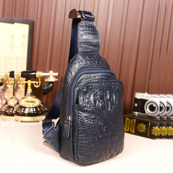 Genuine Leather chest bags new unisex cross body bags Crocodile pattern Fashion famous brand lady Shoulder Bags