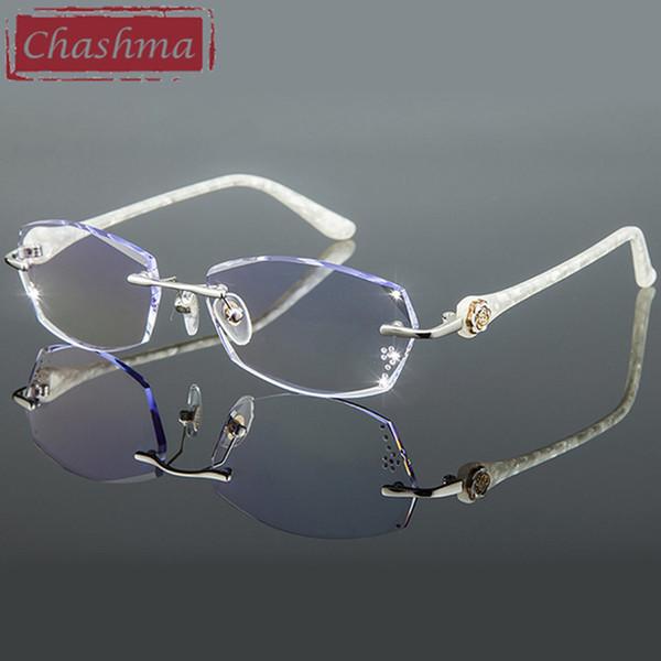 Чашма Titanium Мода Женский глаз очки Алмазный стрижкой Rimless оправ Женщины Оправа Цветные линзы
