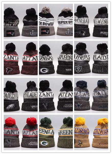 wholesale new Winter Beanie Knitted Hats Sports Teams Baseball Football Basketball Beanies Caps Women& Men Pom Fashion Winter Top Caps