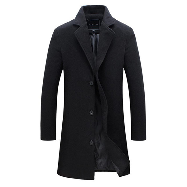 best selling 2018 Fashion Men's Wool Coat Winter Warm Solid Color Long Trench Jacket Male Single Breasted Business Casual Overcoat Parka