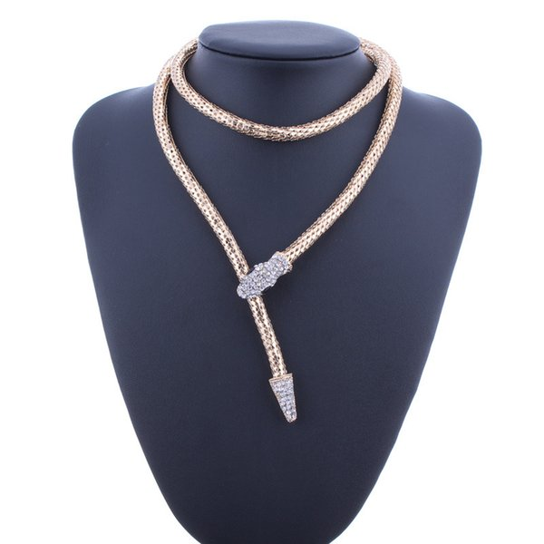 Punk Crystal Gold Silver Snake Belt Necklaces Sexy Crystal Snake Choker Waist Chain Collier Femme Bijoux Crystal Snake Bib Chain Necklaces