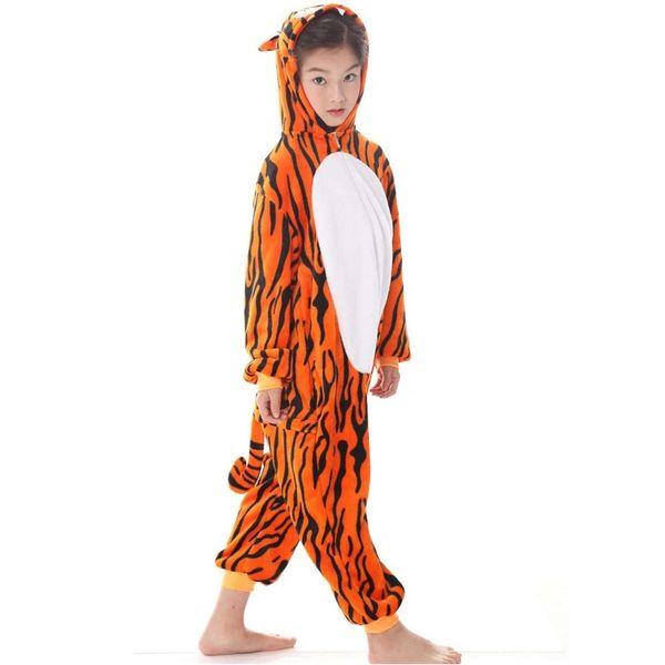 Tiger Kigurumi Animal Onesie Kids Flannel Pajamas Boys Girls Winter Cosplay Party Jumpsuit Sleepwear kids MX-042