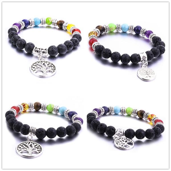 Fashion 8mm Natural Lava Rock Stone Beads 7 Chakra Tree of life Bracelet Diy Aromatherapy Essential Oil Diffuser Bracelet