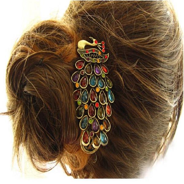 Clips calientes de la alta calidad el mejor cristal Mujeres horquillas de la manera del pavo real pelo de la joyería al por mayor de pelo de las mujeres