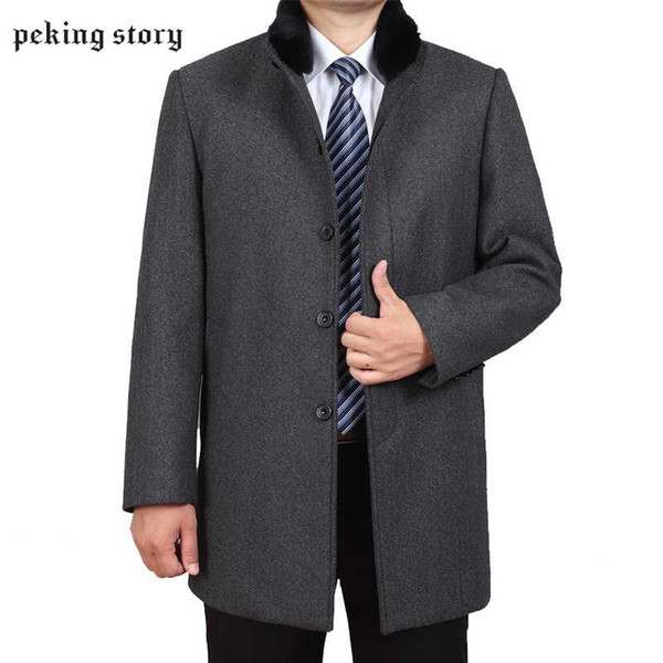 Peking Story Solid Color Mens Woolen Jackets Men' s Large Size 3XL 4XL Casual Wool Coat 50% Off Autumn And Winter Man Overcoat
