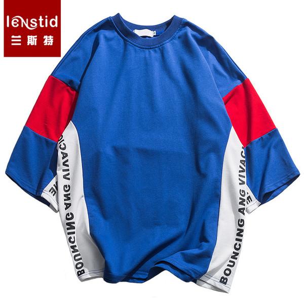 2019 herren hip hop t-shirt farbblock patchwork harajuku t-shirt streetwear sommer dicke t-shirt kurzarm tops tees baumwolle