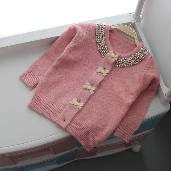 Jaqueta de natal para Meninas Camisola Outono Inverno Cardigan De Lã Crianças Camisola De Malha Arco Pérola Roupa Meninas Outerwear