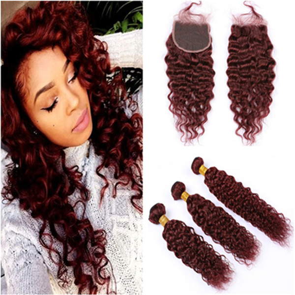 Wet and Wavy Peruvian Burgundy Human Hair Weaves with Closure #99J Wine Red Water Wave Virgin Hair 3Bundles with Lace Closure 4Pcs Lot