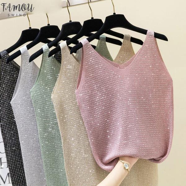 2019 Sexy brilhante malha Tops sleveless V-Neck Diamonds Regatas Mulheres Magro Feminino Tanque Verão T-shirt Vest Camis