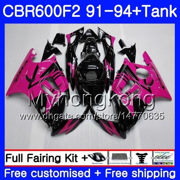 Body+Tank For HONDA CBR 600F2 CBR600FS CBR600F2 91 92 93 94 288HM.23 CBR 600 F2 FS CBR600 F2 1991 1992 1993 1994 Fairing kit Rose Pink blk