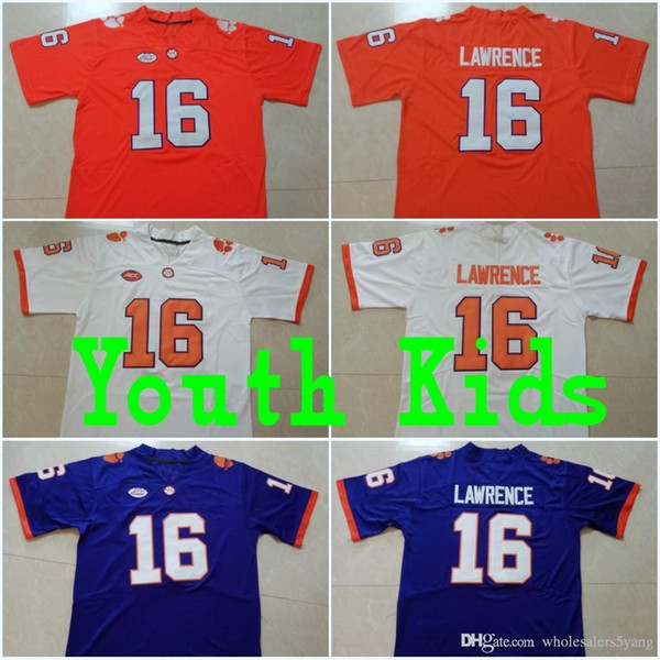 Youth 16 trevor lawrence kid clem on 13 hunter renfrow 2 kelly bryant 4 de haun wat on orange purple white college titched jer ey