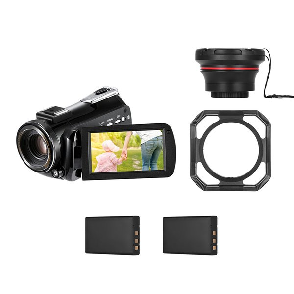Cámara de video digital Andoer AC5 4K UHD 24MP Videocámara DV Time-Lapse con zapata de montaje en caliente + Lente gran angular 0.39X + Capucha de lente