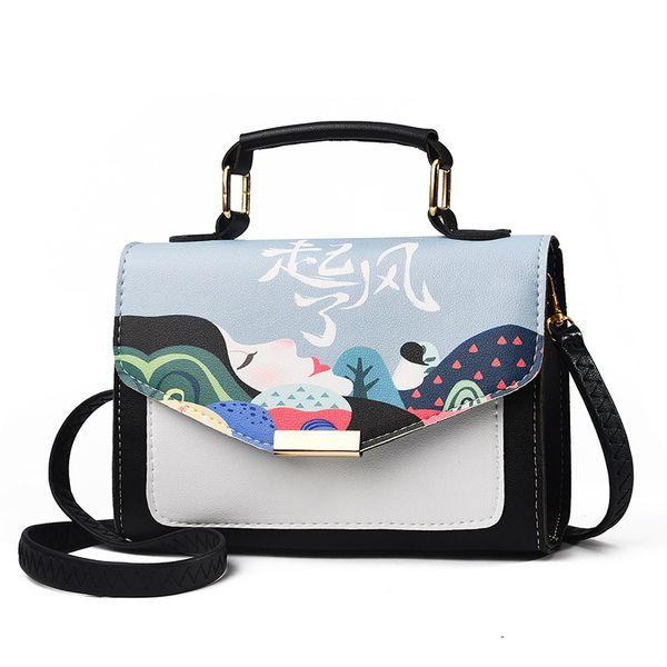 good quality 2019 New Arrival Women Designer Pu Leather Shoulder Bags Flap Handbag Printed Tote Lady Quality Solid Crossbody Bag